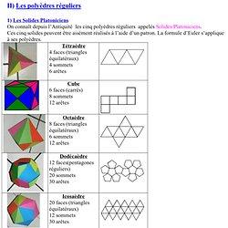 II) Les polyèdres réguliers