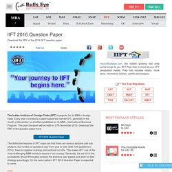 IIFT 2015 Question Paper