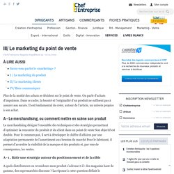 III/ Le marketing du point de vente - Marketing