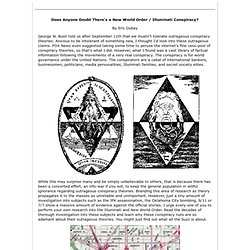 """illuminati conspiracy research paper Another conclusion researchers have drawn to is that these theories could provide rational ways of understanding events that are confusing or threatening to self esteem """"they give you a very simple explanation,"""" adds swami, who published research in 2016 that found believers in conspiracy theories are."""