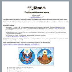 11, 13 and 33 - The Illuminati / Freemason Signature