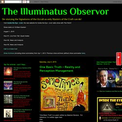 The Illuminatus Observor: One Basic Truth - Reality and Perception Management
