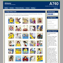 safety cards, airline safety, illustration, flight, evacuation, instructions, procedures, Airtoons Home
