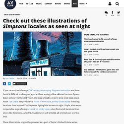 Check out these illustrations of Simpsons locales as seen at night