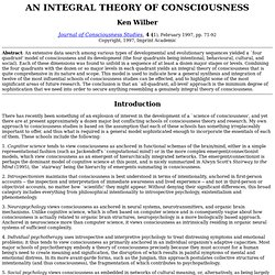 Integral theory consciousness