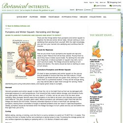 Pumpkins and Winter Squash- Harvesting and Storage