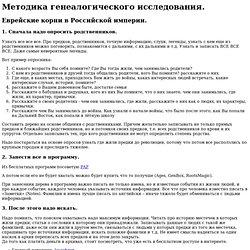 Методика генеалогического исследования.Еврейские корни в Российской империи.