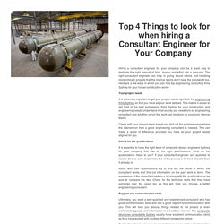 Top 4 Things to look for when hiring a Consultant Engineer for Your Company