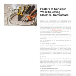 Factors to Consider While Selecting Electrical Contractors