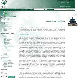 La Chine à l'OMC : quel bilan ? - CEPII Centre français d'étude et de recherche en économie internationale
