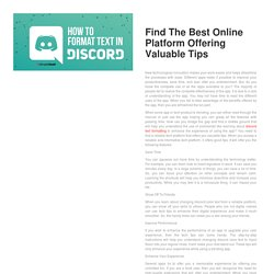 Find The Best Online Platform Offering Valuable Tips