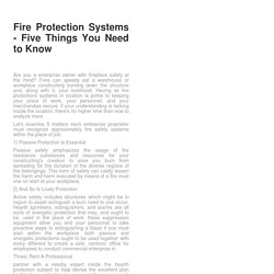 Fire Protection Systems - Five Things You Need to Know