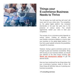 Things your E-commerce Business Needs to Thrive