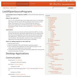 ListOfOpenSourcePrograms - Community Help Wiki