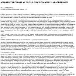 Bydlowski apport de Winnicott psychanalyse maternité