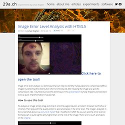 Image Error Level Analysis with HTML5 / 29a.ch