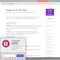 Image sizes for Divi slider