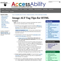 Image ALT Tag Tips for HTML