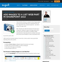 Add Images to a List Web Part in SharePoint 2010