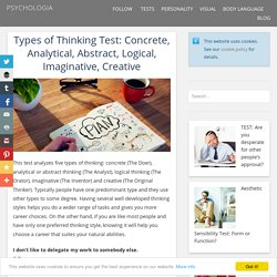Types of Thinking Test: Concrete, Analytical, Abstract, Logical, Imaginative, Creative