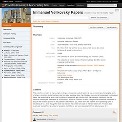 Immanuel Velikovsky Papers, 1920-1996 (bulk 1930-1979)
