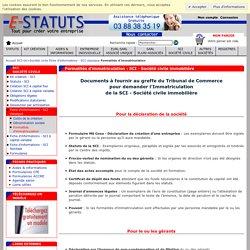 Formalités d'immatriculation : SCI - Société civile immobilière