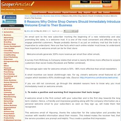 8 Reasons Why Online Shop Owners Should Immediately Introduce Welcome Email to Their Business