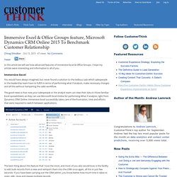 Immersive Excel & Office Groups feature, Microsoft Dynamics CRM Online 2015 To Benchmark Customer Relationship