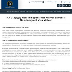 INA 212(d)(3) Non-immigrant Visa Waiver Lawyers