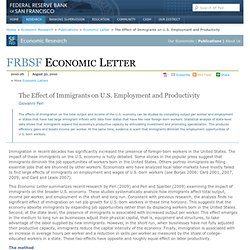 Economic Letter: The Effect of Immigrants on U.S. Employment and Productivity (2010-26, 8/30/2010)