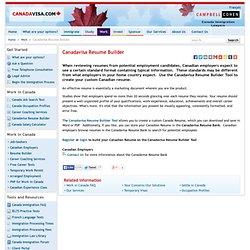 Work in Canada Immigration - Canadavisa Resume Builder