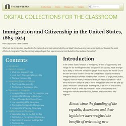 Immigration and Citizenship in the United States, 1865-1924: Digital Collections for the Classroom
