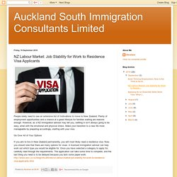 NZ Labour Market: Job Stability for Work to Residence Visa Applicants