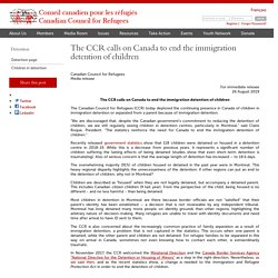 The CCR calls on Canada to end the immigration detention of children