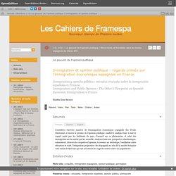 Immigration et opinion publique: regards croisés sur l'immigration économique espagnole en France