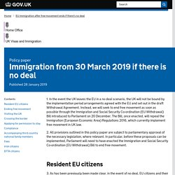 Immigration from 30 March 2019 if there is no deal