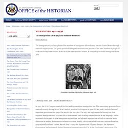 The Immigration Act of 1924 (The Johnson-Reed Act) - 1921–1936 - Milestones - Office of the Historian