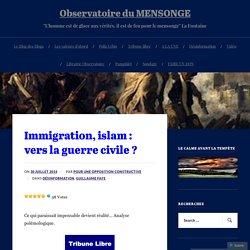 Immigration, islam : vers la guerre civile ? – Observatoire du MENSONGE