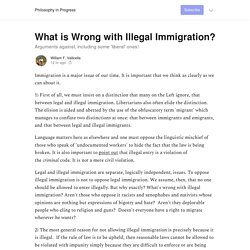 What is Wrong with Illegal Immigration? - Philosophy in Progress