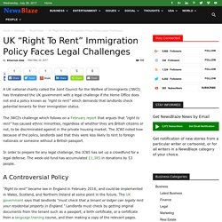 """UK """"Right To Rent"""" Immigration Policy Faces Legal Challenges"""