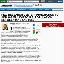 Pew Research Center: Immigration to Add 103 million to U.S. Population Between 2015 and 2065