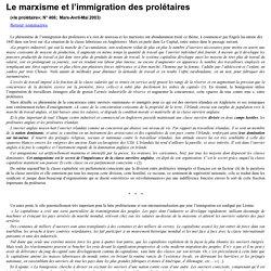 Le marxisme et l'immigration des prolétaires