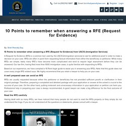 Immigration article : 10 Points to remember when answering an RFE