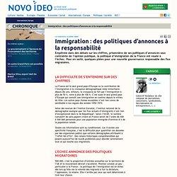 Immigration : des politiques d'annonces à la responsabilité