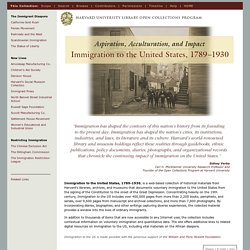 Immigration to the US — 1789-1930