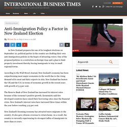 Anti-immigration policy a factor in New-Zealand election 07/07/2014 - IBT