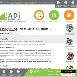 Formation Loi Alur agent immobilier - Centre ADI : Formations diagnostic immobilier