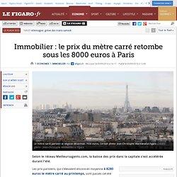 Immobilier : le prix du mètre carré retombe sous les 8000 euros à Paris