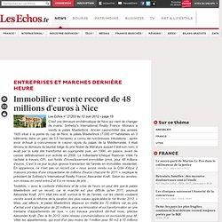 Immobilier: vente exceptionnelle de48millions d'euros à Nice