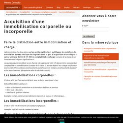 Acquisition d'une immobilisation corporelle ou incorporelle - Memo Compta